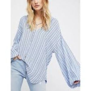 Free People Blue Bell XS Shirt Top Tunic Oversized